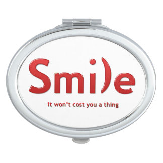 Red Smile Ascii Text Compact Mirror