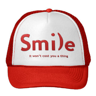 Red Smile Ascii Text Hat