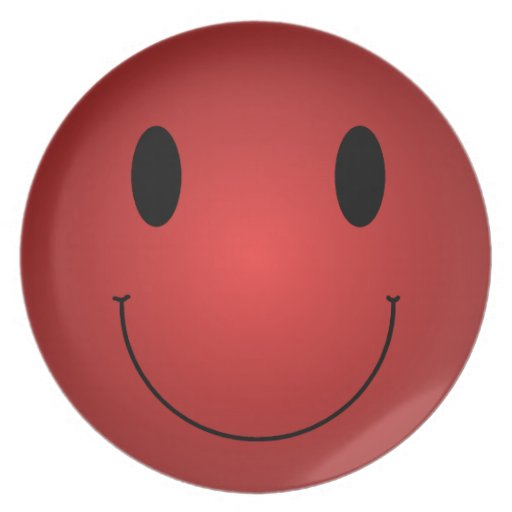 Red Smiley Dinner Plate