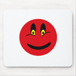 Red Smiley Face Mouse Pad