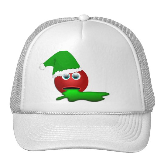 Red Smiley face Puking Green, Funny! Trucker Hat