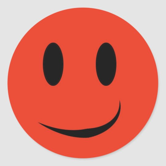 Red smiley face sticker
