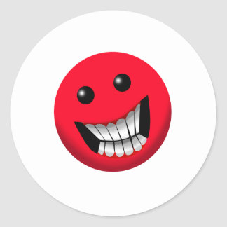 red smiley face classic round sticker