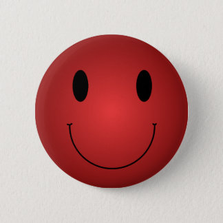 Red Smiley Pinback Button