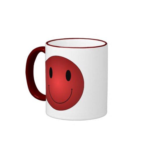 Red Smiley Ringer Coffee Mug
