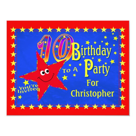 Red Smiley Star 10th Birthday Party Invitation