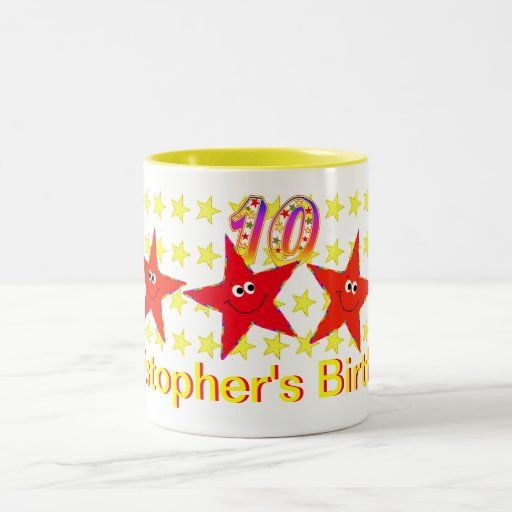 Red Smiley Star 10th Birthday Party Mug