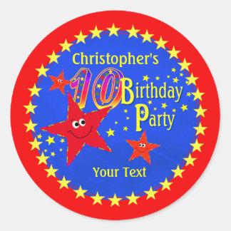 Red Smiley Star 10th Birthday Party Round Sticker