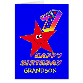 Red Smiley Star 1st Birthday Cards for Grandson