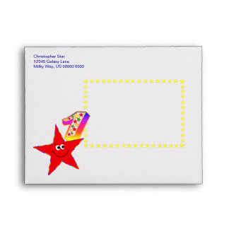 Red Smiley Star 1st Birthday Party A2 Envelope