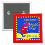 Red Smiley Star 1st Birthday Party Name Button