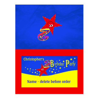 Red Smiley Star 2nd Birthday Party Place Card