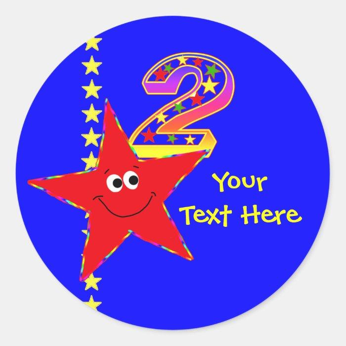 Red Smiley Star 2nd Birthday Stickers