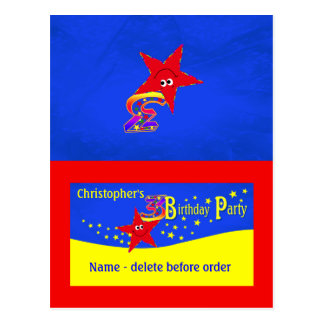 Red Smiley Star 3rd Birthday Party Place Card