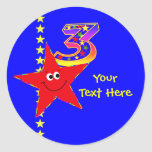 Red Smiley Star 3rd Birthday Stickers