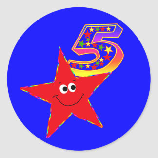 Red Smiley Star 5th Birthday Party Stickers