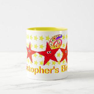 Red Smiley Star 6th Birthday Party Mug