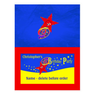 Red Smiley Star 6th Birthday Party Place Card