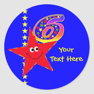 Red Smiley Star 6th Birthday Stickers