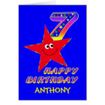 Red Smiley Star 7th Birthday Custom Name Greeting Card
