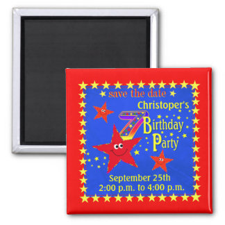 Red Smiley Star 7th Birthday Party Magnet