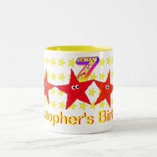 Red Smiley Star 7th Birthday Party Mug