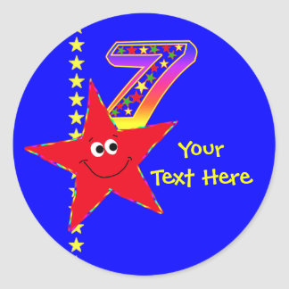 Red Smiley Star 7th Birthday Stickers