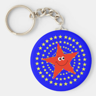 Red Smiley Star Whirl Key Chain