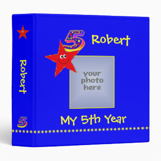 Red Smiley Stars 5th Year Memories Album Binder