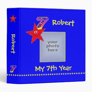 Red Smiley Stars 7th Year Memories Album 3 Ring Binder