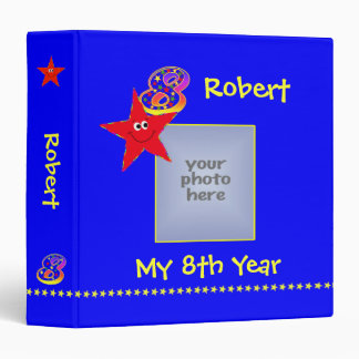 Red Smiley Stars 8th Year Memories Album 3 Ring Binder