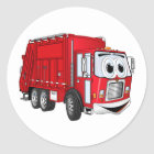 Red Smiling Garbage Truck Cartoon Classic Round Sticker