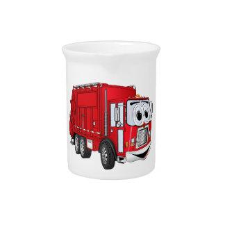Red Smiling Garbage Truck Cartoon Beverage Pitchers
