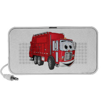 Red Smiling Garbage Truck Cartoon iPod Speakers