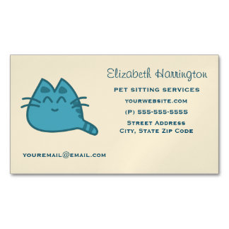 Red Smiling Kitty Cat Business Card Magnet