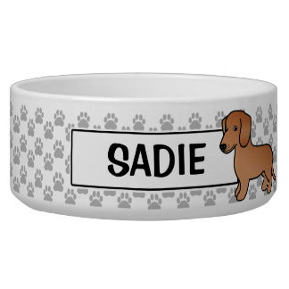 Red  Smooth Coat Dachshund Cartoon Dog Bowl
