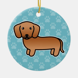Red  Smooth Coat Dachshund Cartoon Dog Ceramic Ornament
