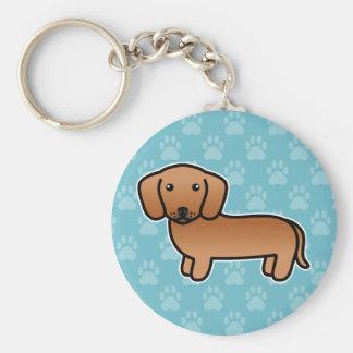 Red Smooth Coat Dachshund Cartoon Dog Keychain