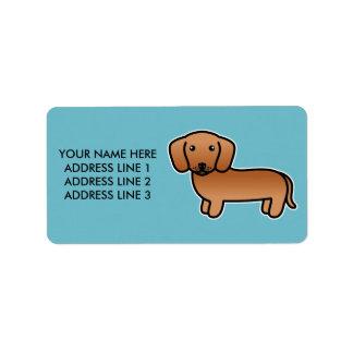 Red  Smooth Coat Dachshund Cartoon Dog Label