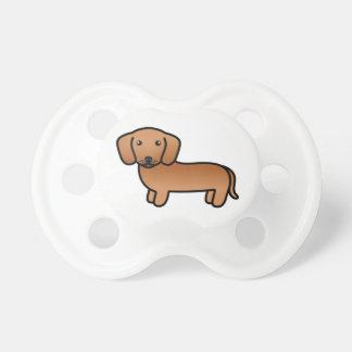 Red  Smooth Coat Dachshund Cartoon Dog Pacifier