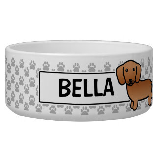 Red Smooth Coat Dachshund Dog Water Bowl