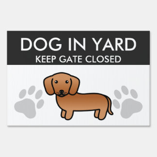 Red Smooth Coat Dachshund Lawn Sign