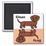 Red Smooth Dachshund 2 Dirty / Clean 2 Inch Square Magnet