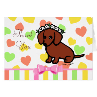 Red Smooth Dachshund and Flowers Card