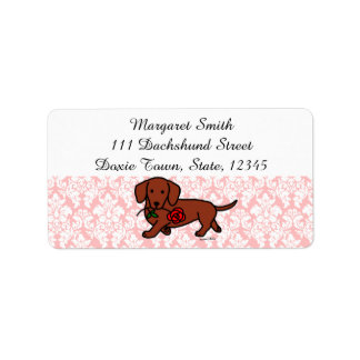Red Smooth Dachshund and Rose Address Labels