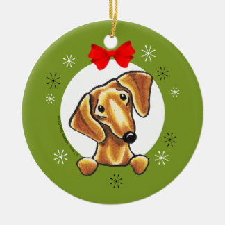 Red Smooth Dachshund Christmas Classic Round Ceramic Ornament