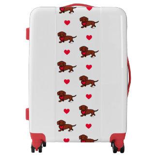 Red Smooth Dachshund Heart Luggage