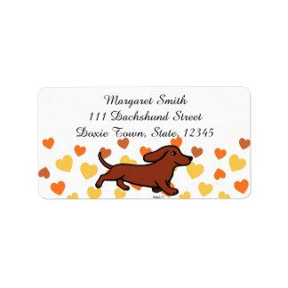 Red Smooth Dachshund Running Address Label