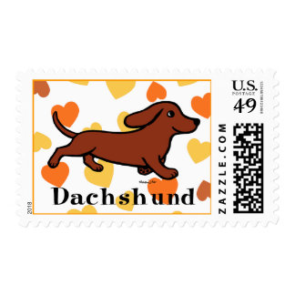 Red Smooth Dachshund Running Stamps