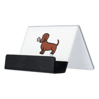 Red Smooth Dachshund Tiny flower Desk Business Card Holder